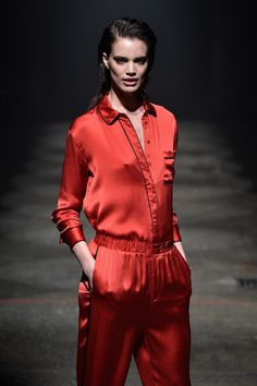 Ganni F/W '15 on trend with red silk pajama-style jumpsuit and slicked back hair