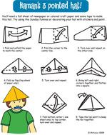 For children who enjoy origami, these directions for a three-pointed hat are easy to follow!