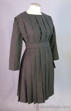 1958 Claire McCardell Pleated Wool Dress