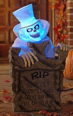 "Hatbox Ghost 24"" light-up tombstone --- one of the rarest Haunted Mansion pieces, I hardly ever see it on eBay!"