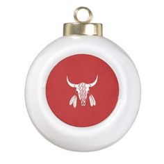 Red Ghost Dance Buffalo Christmas Ball Ceramic Ball Christmas Ornament - Xmas ChristmasEve Christmas Eve Christmas merry xmas family kids gifts holidays Santa