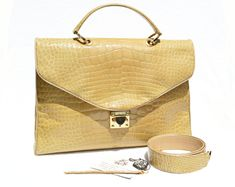 Alligator Skin Vintage bag – Crocodile Bag – Birkin Bag For Sale