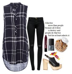 """I like fire "" by weirdestgirlever ❤ liked on Polyvore featuring J Brand, Sam Edelman, NYX, NARS Cosmetics and OXO"