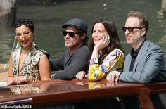Brad Pitt, couldn't peel his eyes away from Liv Tyler as they attended the photocall for Ad Astra during the Venice Film Festival at Sala Grande in Italy on Thursday. Liv Tyler, Strike A Pose, Best Actress, Brad Pitt, His Eyes, Film Festival, Venice, Ads, Actresses