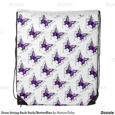 Draw String Back Pack/Butterflies Drawstring Backpack