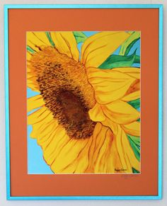 Large Sunflower Framed with Glass  12 x 15 by PeggyQuinnStudio, $105.00