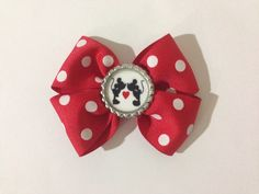 Minnie & Mickey Love Ribbon Bow by SamiBowtique on