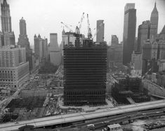 A photo shows the progress at the World Trade Center site in 1969, where a foundation and part of one of the towers is in place.