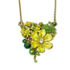 Unique Flower Necklace with Frog,  Repurposed Jewelry, Wearable Art