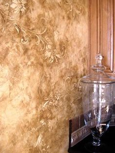 Venetian Plaster with Raised Stencil Treatment Faux Walls, Plaster Walls, Textured Walls, Wood Walls, Faux Paint Finishes, Wall Finishes, Tuscan Design, Tuscan Style, Faux Painting Techniques