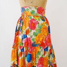 60s Maxi Skirt Cotton Floral by Fouts-Gilkes Handmade New York