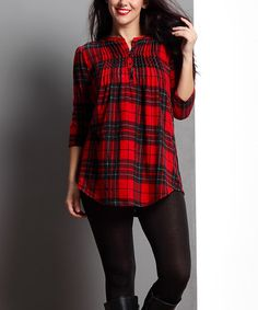 Look what I found on #zulily! Red Glen Plaid Notch Neck Pin Tuck Tunic - Plus #zulilyfinds