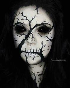 WEBSTA @ venomousvanity - Branch Skull 31 days of Halloween day Paradise paints Love and Tako Trooper Weirdo and Drug lord. Amazing Halloween Makeup, Halloween Eyes, Halloween Looks, Maquillage Cosplay Anime, Horror Make-up, Creepy Makeup, Looks Dark, Fantasias Halloween, Special Effects Makeup