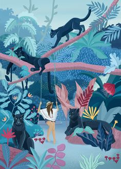 I'm Asia, a freelance digital illustrator. I enjoy translating everyday life observations into colorful language of art. I do editorial illustration work, also sell my own art. Jungle Illustration, Digital Illustration, Painting Inspiration, Art Inspo, Jungle Art, Jungle Drawing, Illustrations And Posters, Ipad Art, Concept Art