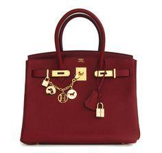 Hermes Birkin Bag Rouge H 30cm Clemence Gold Hardware #hermes