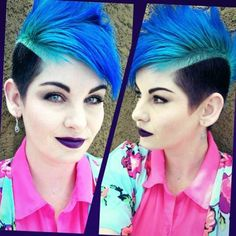 Blue Mohawk by Wigsplace Mohawk Hairstyles, Pretty Hairstyles, Remy Wigs, Creative Hair Color, Bright Hair Colors, Alternative Hair, Mermaid Hair, Dream Hair, Hair Today