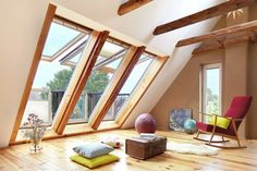 The CABRIO Balcony Windows go from a roof window to a balcony in seconds. Top half opens like a traditional roof window for days no balacony is wanted. Loft Conversion Balcony, Loft Conversion Bedroom, Attic Conversion, Loft Conversion Velux Windows, Attic Loft, Loft Room, Attic Spaces, Attic Rooms, Roof Balcony