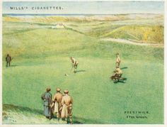 A vintage ad for Wills Cigarettes featuring Prestwick's 17th Green. Prestwick was the site of the 1st Open Championship