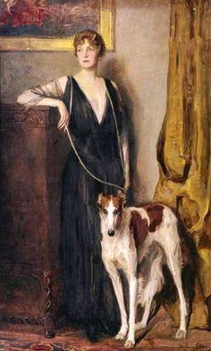 John Quincy Adams (Austrian, 1873-1933) : Borzoi with Kitty von Rothschild…