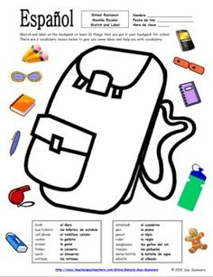 Spanish School Backpack Sketch and Label Activity / Classroom Objects by Sue Summers