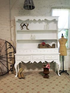 Painted Cottage Shabby White Fancy French Farmhouse China Cabinet CC331 via Etsy.