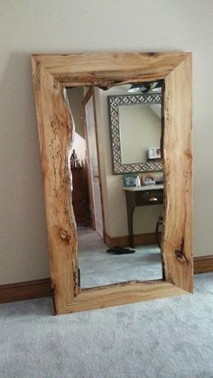 36 easy diy rustic mirror frame that you will try diy wood creations in 201 Rustic Mirrors, Wood Mirror, Diy Mirror, Pallet Mirror Frame, Vintage Mirrors, Wall Mirrors, Mirror Ideas, Live Edge Furniture, Pallet Furniture