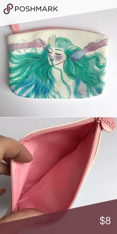 {ipsy} watercolor makeup bag Gorgeous cosmetic bag with graphic print of woman on front. Colorful and beautiful little bag for makeup, coins, cash, and more! Pink lining. ipsy Bags Cosmetic Bags & Cases