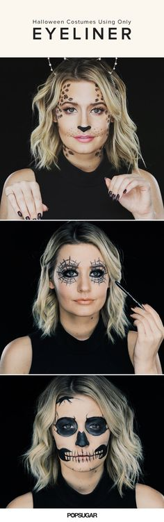 3 Halloween costumes using only eyeliner. I always use regular make up like eyeliner for my costumes Costume Halloween, Creepy Costumes, Looks Halloween, Diy Halloween Costumes For Kids, Halloween Make Up, Halloween Crafts, Halloween Party, Halloween Face Makeup, Halloween Spider