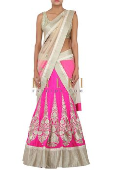Buy Online from the link below. We ship worldwide (Free Shipping over US$100) http://www.kalkifashion.com/pink-lehenga-adorned-in-zari-embroidery-only-on-kalki.html