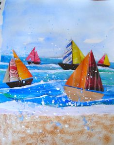 sailboat collage, torn paper, texture with glued on sand