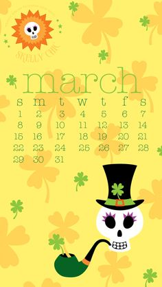 Warm yourself up with my FREE sunny skelly shamrock wallpaper for your phone & desktop! www.skellychic.com