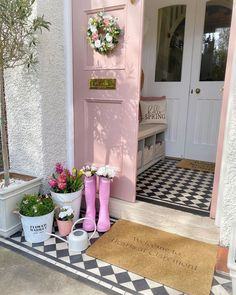 We are in LOVE with this front door and entrance! I mean how can you not love that blush pink color! We are jealous of this space that gets to enjoy! Front Door Entrance, Front Door Decor, Front Porch, Porch Interior, Double Front Doors, Pink Houses, Porch Decorating, Farmhouse Decor, Farmhouse Front