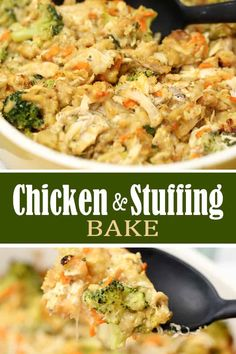 Healthy Recipes This Chicken Stuffing Bake recipe is a hassle-free 45 minute meal. With chicken, stuffing, broccoli and a few other simple ingredients - it's so comforting. Easy Casserole Recipes, Stuffing Recipes, Turkey Recipes, Casserole Dishes, Chicken Casserole With Stuffing, Box Stuffing, Chicken Bake Casserole, Chicken Cassarole, Chicken And Dressing Casserole