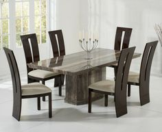 Como 200Cm Brown Marble Dining Table  Dining Tables  Pinterest Glamorous Marble Dining Room Sets Design Decoration