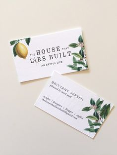 Pretty and classic botanical business cards for The House That Lars Built Letterpress Business Cards, Cool Business Cards, Business Card Design, Brand Packaging, Packaging Design, Branding Design, Farm Business, Farm Logo, Brand Fonts
