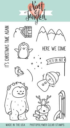 Neat & Tangled Clear Stamp Set Get Yeti is perfect for your Christmas card or scrapbooking scene! Christmas Drawing, Christmas Art, Neat And Tangled, Cute Doodles, Silhouette Cameo Projects, Rock Crafts, Tampons, Digi Stamps, Copics