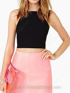 Black Spaghetti Strap Sleeveless Lace Up Vest -$22.59