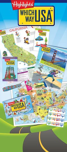 Which Way USA - A geography book club for kids.  Every month, kids will explore two new states, uncovering clues, meeting up with fascinating heroes, visiting natural and man-made wonders, and reliving great historic events!