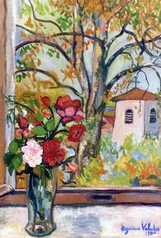 Bouquet of Flowers in front of a Window in Saint-Bernard (Suzanne Valadon - 1926)