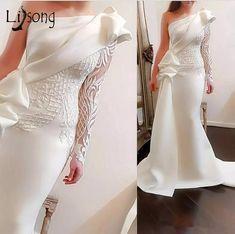 A buon mercato Elegante una spalla sirena lunghi abiti da ballo 2018 bianco  maniche lunghe abiti c8422ca53f8