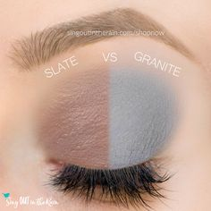 Slate and Granite ShadowSense side by side comparison.  These long-lasting SeneGence eyeshadows help create envious eye looks.  #eyeshadow #shadowsense