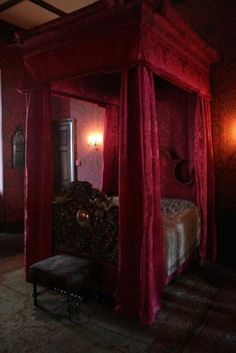 Red medieval bed