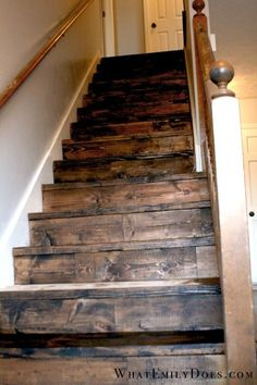 wish we could take off the carpet, sand off the paint and make the stairs look this good.