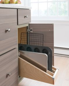 Finally, Martha also installed tray dividers, which tame cookie and baking sheets. They're stored vertically in their own drawer, making storing and selecting the perfect trays a simple task. Shop Martha Stewart Living Kitchens at The Home Depot