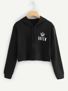 Shop Letter Print Hooded Sweatshirt at ROMWE, discover more fashion styles online. Cute Comfy Outfits, Teen Fashion Outfits, Teenager Outfits, Cute Outfits For Kids, Outfits For Teens, Trendy Outfits, Trendy Hoodies, Cute Sweatshirts, Damen Sweatshirts