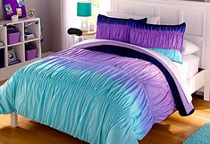 Aqua Blue Purple Ruffle Ruched Ombre Chevron Teen Girl Comforter, Shams, Sheets + Home Style Exclusive Sleep Mask! (Queen) Home Style http://www.amazon.com/dp/B015QHQE4M/ref=cm_sw_r_pi_dp_.iHnwb09A5HFW
