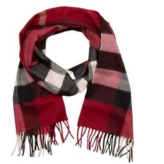 Burberry Scarves & Caps - Half Mega Check Scarf Parade Red - in red -... ($520) ❤ liked on Polyvore featuring accessories, scarves, red, checkered scarves, burberry, red shawl, burberry shawl and burberry scarves