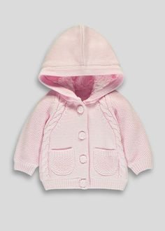 Girls Cable Knit Hooded Cardigan (Tiny Baby-18mths) - Matalan