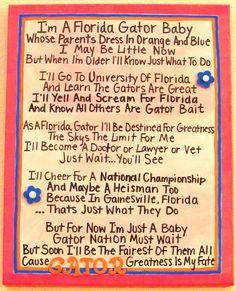 I'm A Florida Gator Baby Girl Canvas by jzoet on Etsy. $40.00 USD, via Etsy.