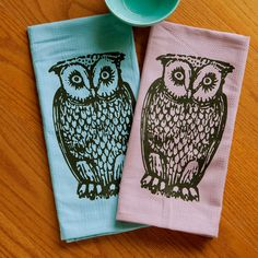 Owl Tea Towel Set of Two Screen Printed Kitchen by boygirltees